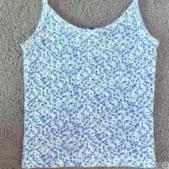 Brandy Melville Floral tank blue